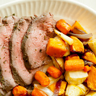 Herb-Rubbed Sirloin Tri-Tip Roast with Root Vegetables.