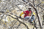BRANCHING OUT: A Numsa member watches thousands of his union's workers march in Randburg during a wages protest