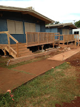 Photo: The carpenters are doing quality work on the stairs and ramp for the portables.