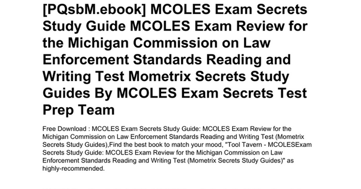 Mcoles Exam Secrets Study Guide Mcoles Exam Review For The Michigan