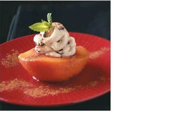 Simple Poached Peach With A Cream Cheese Filling.