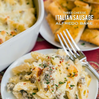 Three Cheese Italian Sausage Alfredo Bake Recipe