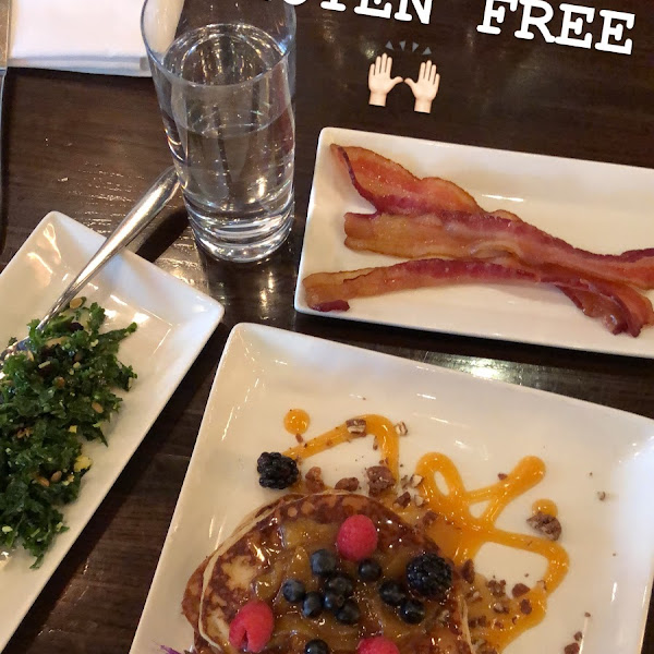 1/2 kale salad, pancakes with peaches & berries, & bacon of course!