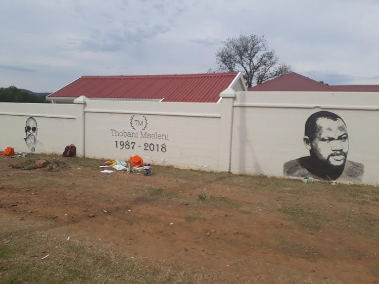 A giant mural of Thobani in his home town of Fort Beaufort in the Eastern Cape.