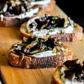 Seared Mushroom Crostini with Herb-Whipped Goat Cheese