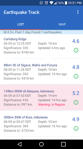 Earthquake Track screenshot 1