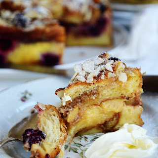 Apple & Blackberry Custard Croissant Cake