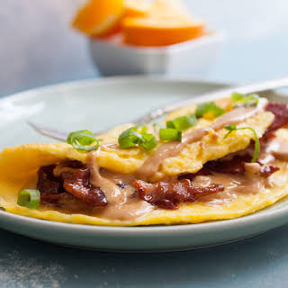Peanut Butter Omelet With Candied Bacon.