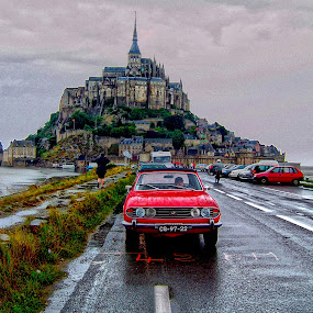Mont Saint Michel by Ana Paula Filipe - City,  Street & Park  Historic Districts ( car, michel, red, mont, saint )