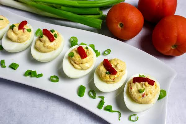 A Platter Of Pimento Cheese Deviled Eggs.