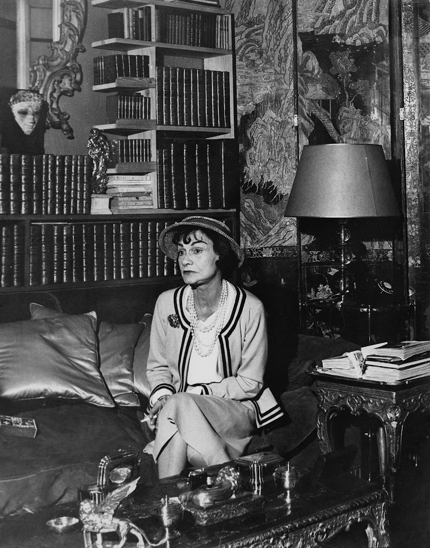 French fashion designer Coco Chanel (1883 - 1971) in her apartment at the Hotel Ritz Paris, 1960.