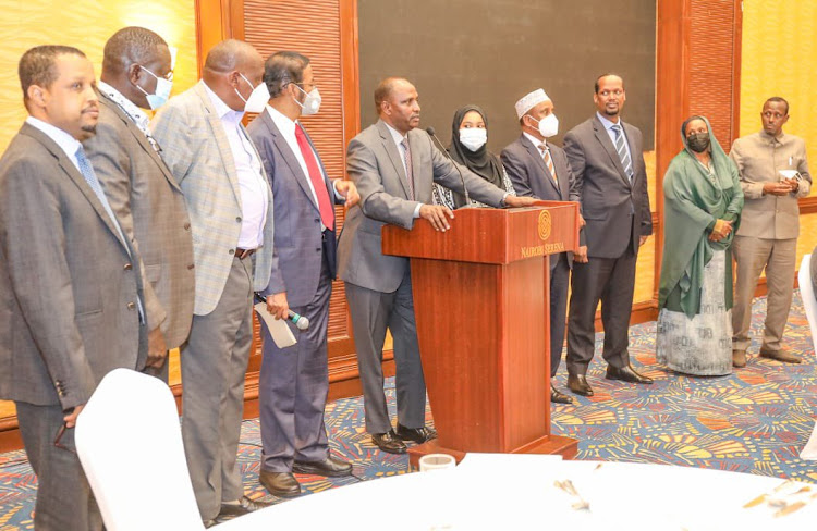 Members of the Pastoralist Leaders Forum when they met ODM leader Raila Odinga at the Serena Hotel on November 9, 2020.