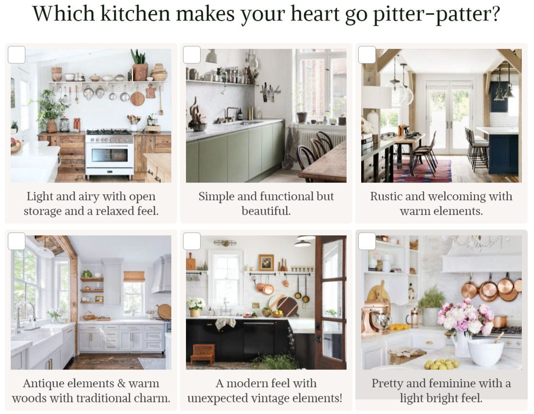 which kitchen do you like most quiz question with image answer choices