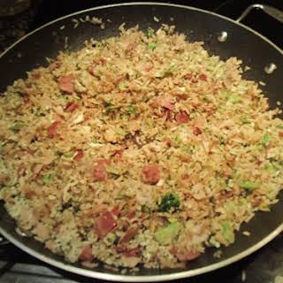 Fried Rice Recipe Using Deli Turkey Meat Slices.