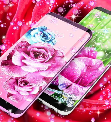 Rose pink water drop live wallpaper screenshots 3