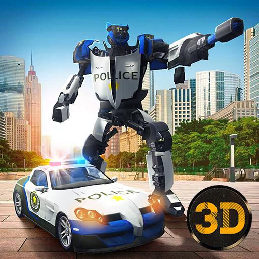 Police Robot Car Transform 3D