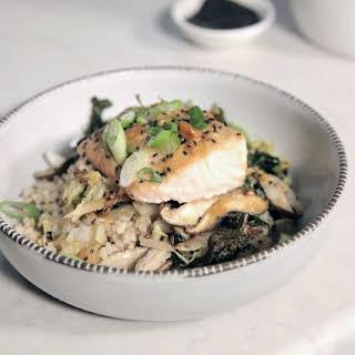 Sheet Tray Miso Salmon with Crispy Kale and Shiitakes.