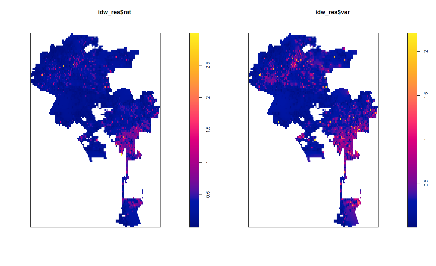 Some inverse distance weighting hacks – using R and spatstat