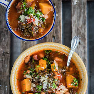Slow Cooker Squash, Bean and Kale Stew.