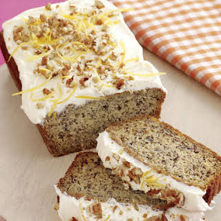 Banana Bread with Pecans and Lemon Icing.