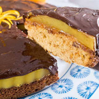 Biscuit Cake With Orange Jelly and Chocolate Glaze [Vegan].