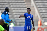 George Lebese of SuperSport United speak to head coach Kaitano Tembo during the Absa Premiership match between SuperSport United and Free State Stars at Lucas Moripe Stadium on March 10, 2019 in Pretoria, South Africa.