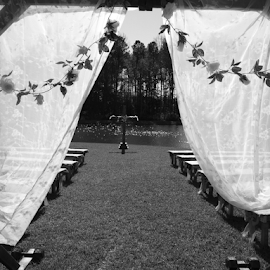 ARCH VIEW by Eric Bryden - Wedding Ceremony ( bride, groom, cermoney, cross, wedding )