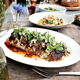 Slow-Cooked Leg of Lamb with Spiced Yogurt and Herbs.
