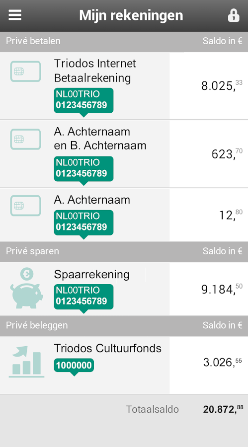 Triodos Bankieren- screenshot