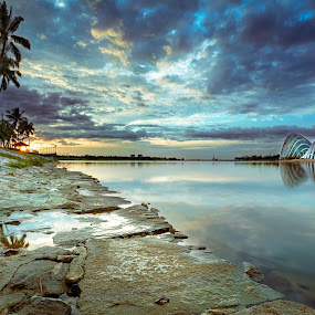 The way to Paradise by Ashraf Jandali - Landscapes Cloud Formations ( port, reflection, colorful, relax, harbour, dome, yellow, drama, digital, singapore, contrast, nature, tree, details, cloudy, trip, pond, rocks, september, water, clouds, 2013, park, purple, grass, green, blending, sea, lake, red, vacation, blue, sunrise )