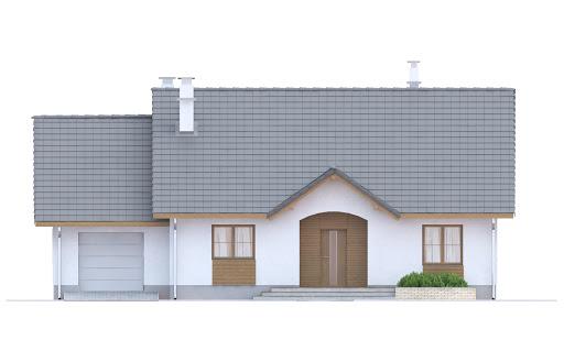 Groszek z garażem dach dwuspadowy opał stały - Elewacja przednia
