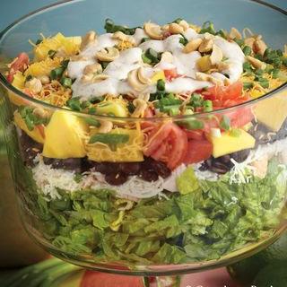 Layered Caribbean Chicken Salad.