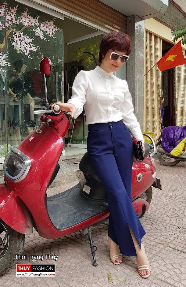 Áo sơ mi nữ và quần ống vẩy xẻ tà mặc tới công sở thời trang thủy quảng ninh