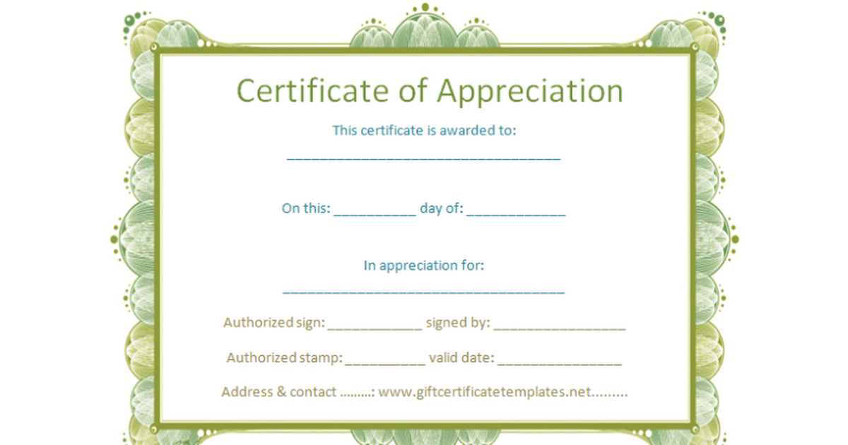 Certificate of appreciation template google docs yadclub Choice Image