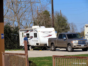 Photo: Ron Pasley with is trailer and pickup.    HALS Chili Fest Meet 2014-0227 RPW