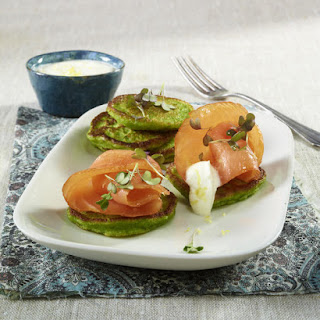 Pea Pancakes with Smoked Salmon