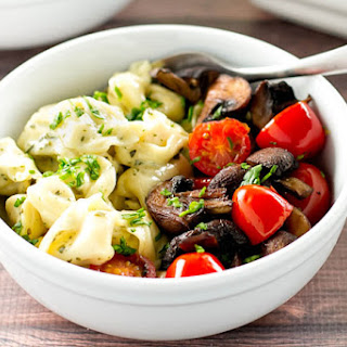 Creamy Pesto Tortellini with Roasted Mushrooms & Tomatoes