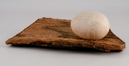 "Photo: Gary Guenther - 2"" x 3"" side-grain egg [red oak, bleached]"