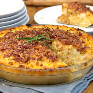 Cauliflower Gruyere Pie with Potato Crust and Parmigiana-Bacon Crumb Topping