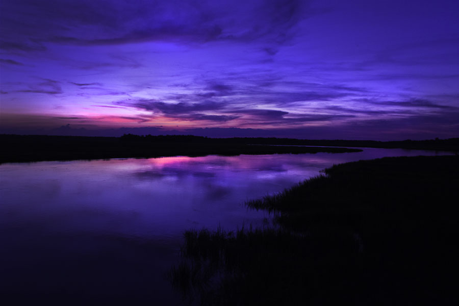 Blue Sunset by Carlos Holt - Landscapes Sunsets & Sunrises ( field, water, sky, blue, sunset, night, pink, river )