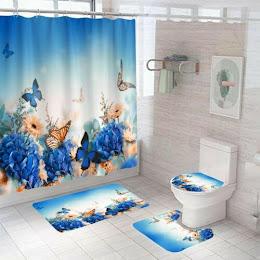 Set pentru baie: perdea, covorase si husa de toaleta, Butterfly