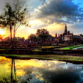 by Tonny Haryanto - City,  Street & Park  City Parks ( reflection, android, pagoda, moment, old city, thailand, beauty, budhist, sukhothai, colour, lights, religion, sky, earth pulse, movement, travelnote, asia, vibration, motion, evening, historical place, water, park, beautiful sukhothai, gadget, budha, samsung galaxy note, energy )