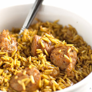 Turmeric Rice with Chicken Sausage.