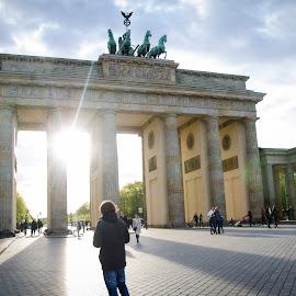 Brandenburg Gate by Gogu Balauru - Buildings & Architecture Statues & Monuments ( tourist, sunny, germany, monument, berlin )