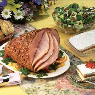 Glazed Ham with Pecan Crust.