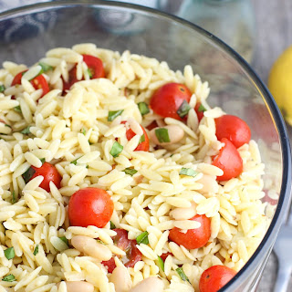 Lemon Orzo Pasta Salad with Basil, Almonds, and White Beans
