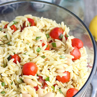 Lemon Orzo Pasta Salad with Basil, Almonds, and White Beans.