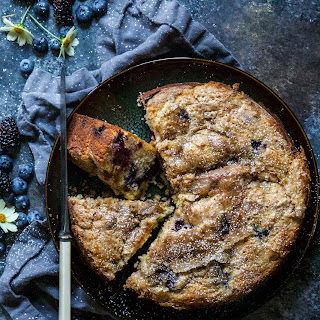 Blueberry & Blackberry Tahini Cake with Cardamon Sugar.