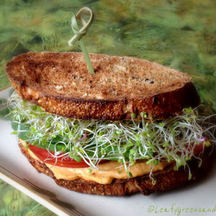 Roasted Red Bell Pepper Hummus Sandwich