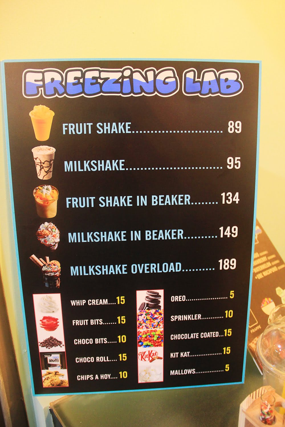 Freezing Lab Shake Corner Menu